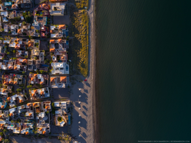 Aerial of Loreto, Mexico along the beach