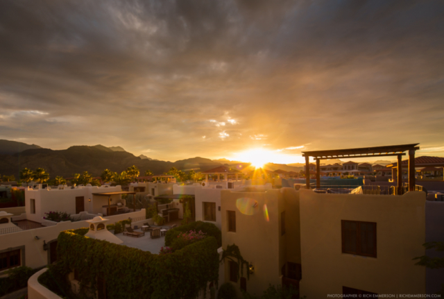 Sunset over homes in Loreto, Mexico