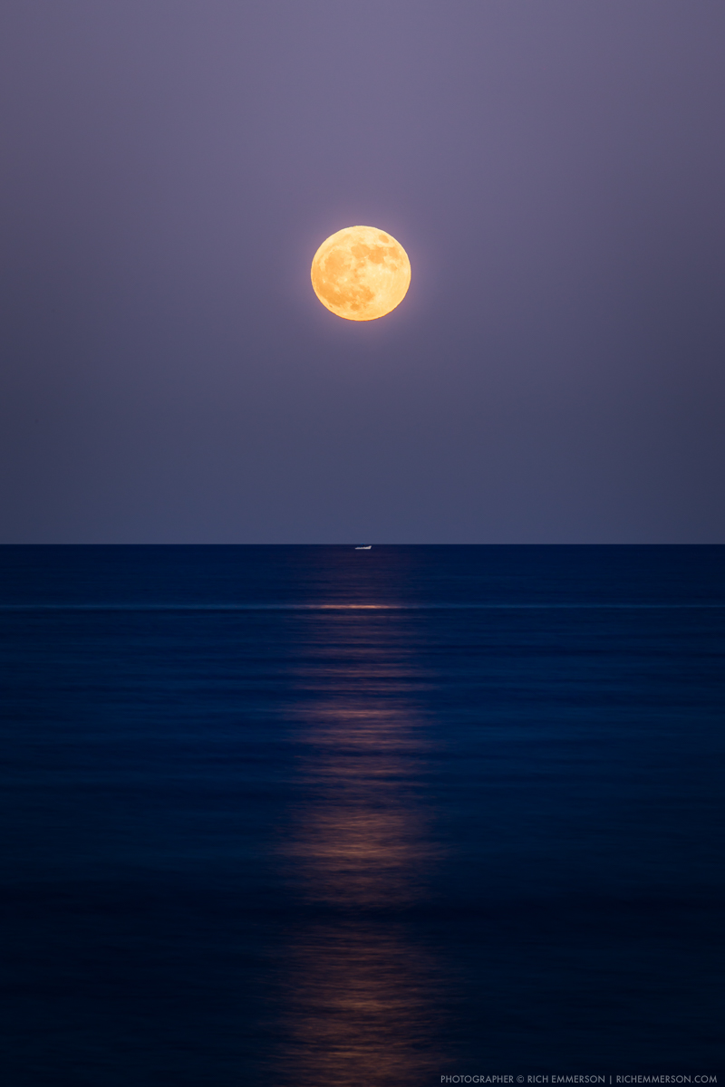 Super moon rising over the Gulf of California