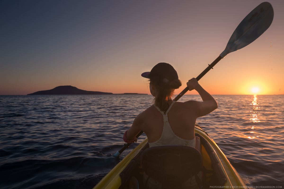 Woman Kayaking on Gulf of California to Coronado Island